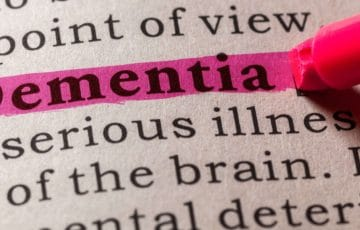 Dementia highlighted in dictionary